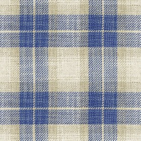 Kintyre Check - Blue - Cream fabric with blue checkered pattern
