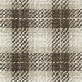 Kintyre Check - Brown - Cream fabric with brown checkered pattern