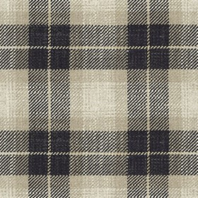 Kintyre Check - Charcoal - Cream fabric with charcoal checkered pattern