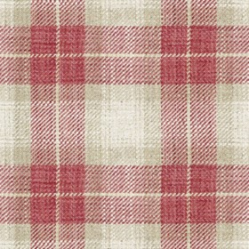 Kintyre Check - Peony - Cream fabric with red checkered pattern