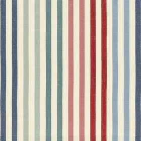 Ascot Stripe - 1 - Beige cotton fabric with navy, blue and red stripes