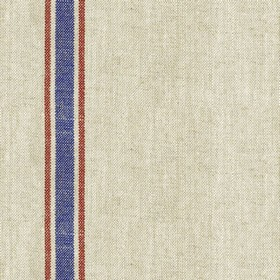 Linen 25 - Nordic - Grey linen fabric with red and blue stripes