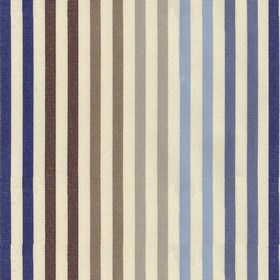 Ascot Stripe - 2 - Beige cotton fabric with navy, blue, grey and brown stripes