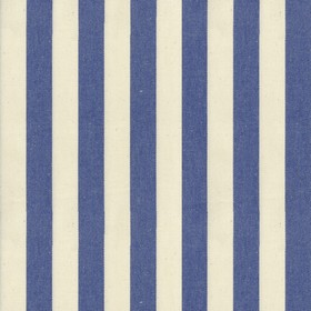 Norfolk Stripe - Indigo - Cream cotton fabric with indigo stripes