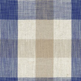 Oban Check - Blue - Country fabric with beige, cream and blue checkered pattern