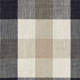 Oban Check - Charcoal - Country fabric with beige, cream and charcoal checkered pattern