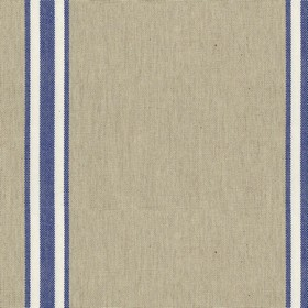 Odeon 8 - Indigo - Light grey cotton fabric with indigo stripes