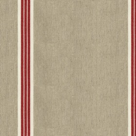 Odeon 8 - Peony - Light grey cotton fabric with red stripes