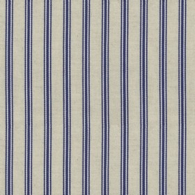 Organic Ticking - Blueberry - Light grey cotton fabric with blueberry coloured stripes
