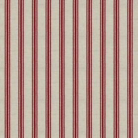 Organic Ticking - Cranberry - Light grey cotton fabric with cranberry coloured stripes