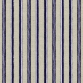 Organic Ticking - Iris - Light grey cotton fabric with blue coloured stripes