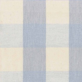 Avon Check - Bluebell - Cotton fabric with beige and blue checkered pattern
