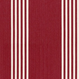 Oxford Stripe - Peony - Red cotton fabric with natural coloured stripes