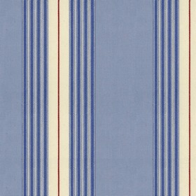 Panama 2 - Indigo Sky - Blue cotton fabric with red, indigo and cream stripes