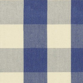 Avon Check - Indigo - Cotton fabric with cream and indigo checkered pattern