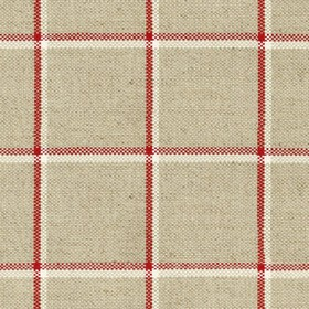 Skye Check - Peony - Grey linen fabric with light grey and red checkered pattern