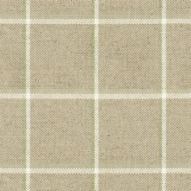 Skye Check - Sage - Grey linen fabric with light grey and sage checkered pattern