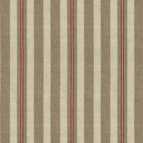 Spencer Stripe 2 - Peony - Linen fabric with grey and red stripes