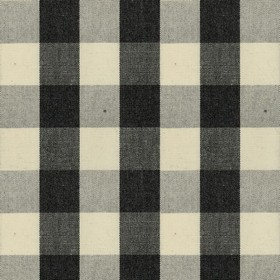 Suffolk Check L - Black - Country cotton fabric with natural, grey and black checkered pattern