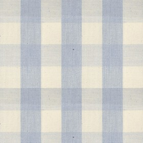 Suffolk Check L - Blebell - Country cotton fabric with natural and blue checkered pattern