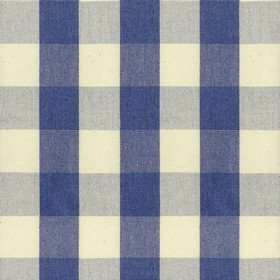 Suffolk Check L - Indigo - Country cotton fabric with natural and indigo checkered pattern