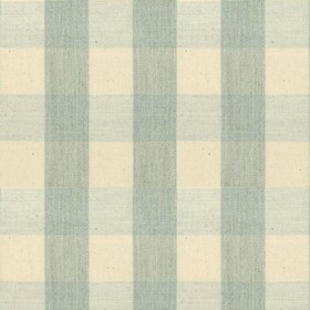 Suffolk Check L - Mint - Country cotton fabric with natural and mint checkered pattern
