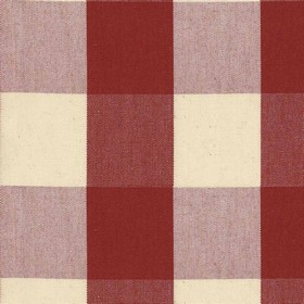Avon Check - Peony - Cotton fabric with cream and red checkered pattern