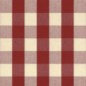 Suffolk Check L - Peony - Country cotton fabric with natural and red checkered pattern