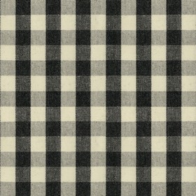 Suffolk Check S - Black - Country cotton fabric with natural and black checkered pattern