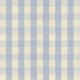 Suffolk Check S - Bluebell - Country cotton fabric with natural and blue checkered pattern