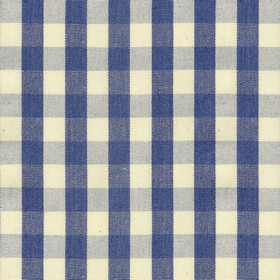 Suffolk Check S - Indigo - Country cotton fabric with natural and indigo checkered pattern