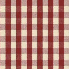 Suffolk Check S - Peony - Country cotton fabric with natural and red checkered pattern
