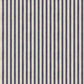 Ticking 01 - Navy - Natural cotton fabric with navy stripes