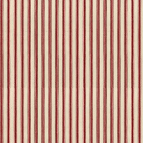 Ticking 01 - Peony - Natural cotton fabric with red stripes