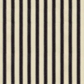 Ticking 2 - Black - Natural cotton fabric with black stripes