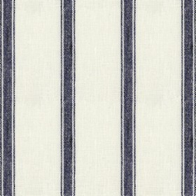 Angus Stripe - Navy - Beige linen fabric with navy stripes