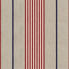 Vintage Stripe 2 - Peony - Grey cotton fabric with red and navy stripes