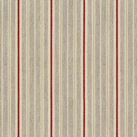 Vintage Stripe 4 - Peony - Grey cotton fabric with light grey and red stripes