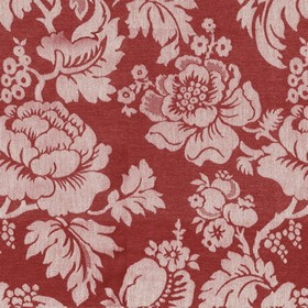 Wildflower - Red - Beige cotton fabric with a modern red flower pattern