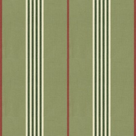 Worthing Stripe - Sage - Green cotton fabric with natural, red and sage stripes