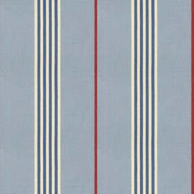 Worthing Stripe - Sky - Blue cotton fabric with natural, red and blue stripes