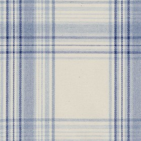 Brighton Check - Blue - Beige cotton fabric with blue checkered pattern
