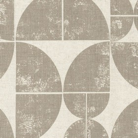 Acton - Linen - Quarters of grey circles printed repeatedly over light grey linen fabric