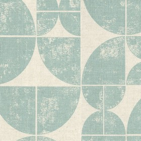 Acton - Mint - Linen fabric in light grey, beneath a pattern of quarters of circles in light blue