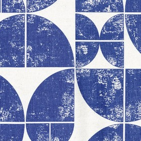 Acton - Navy - Linen fabric with a print of quarters of circles in dark blue on a light grey background