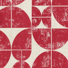 Acton - Peony - Red and light grey linen fabric featuring a print made up of quarters of circles
