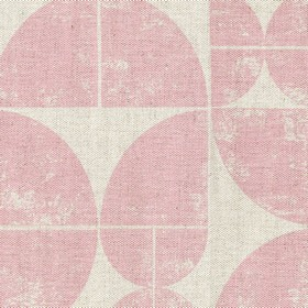 Acton - Pink - Light pink circles of different sizes which have been quartered, with the quarters being printed on light grey linen