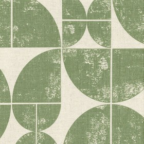 Acton - Sage - Dusky green and grey fabric made from linen with quarters of circles as the pattern