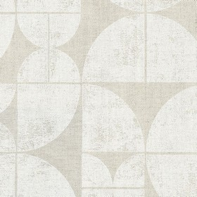 Acton - White - Light grey quarters of circles printed repeatedly on a slightly darker grey linen fabric background