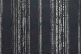 Brompton - Charcoal - Black linen fabric featuring a repeated pattern of patchy light grey stripes